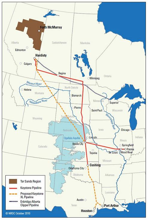 Keystone and Keystone XL routes with Oglalla Aquifer visible
