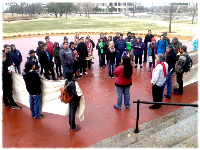 GPTSR rallies alongside members of Idle No More Central Oklahoma and Youth outside the Oklahoma Capitol.